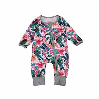 Hunputa Toddler Baby Girls Cotton Casual Longsleeve Cartoon Floral Print Dresses